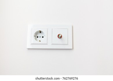 Double socket on the wall