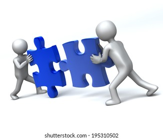 Double Team 2 Men completing 3D jigsaw Puzzle