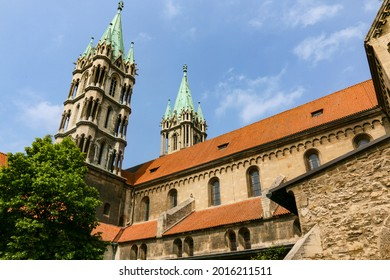 the double towers of the famous Naumburg Cathedral and other historic church buildings