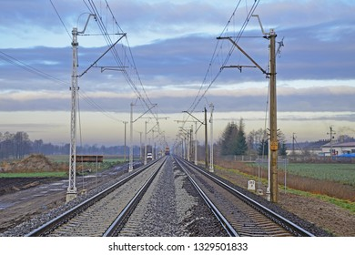Double track electrified railway line - old and modernized track