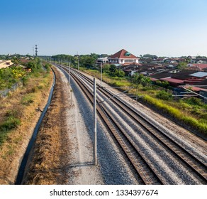 Double track electrified railway in Malaysia.