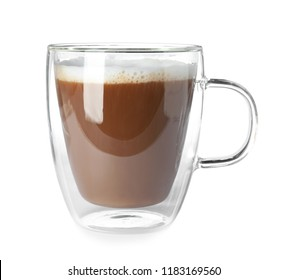 Double wall glass coffee cup isolated on white