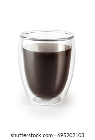 Double wall glass cup with coffee isolated on white background.