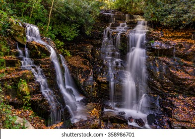 Double waterfall in the mountains of North Carolina