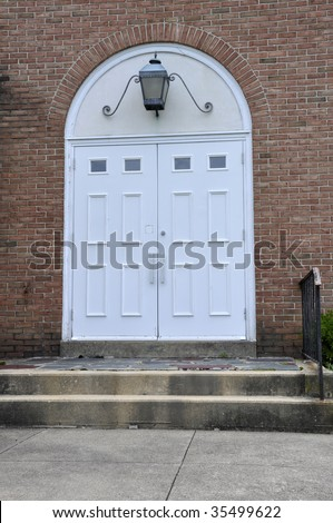 Double White Entry Doors Red Brick Stock Photo Edit Now 35499622
