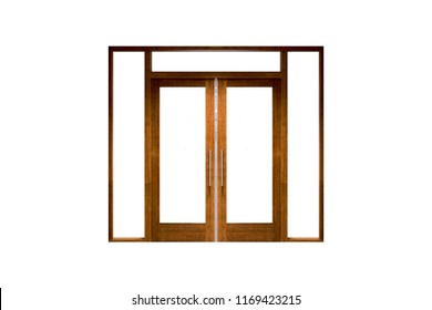 Double wooden doors isolated on white