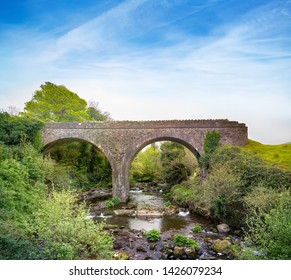 Double-arch rubble stone railway bridge over Finglas river, opened 1891. Closed 1908. County Kerry, Ireland