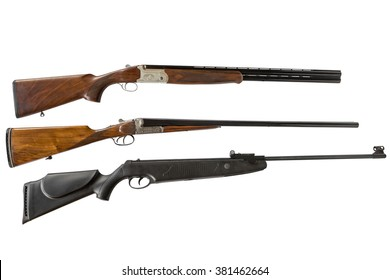 double-barreled shotguns and air gun isolated on white background