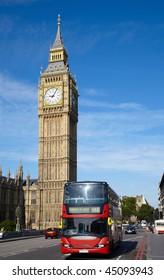 Double-decker bus on Westminster bridge in London