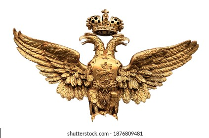 Double-headed eagle gold. Russian Empire coat of arms heraldic symbol isolated