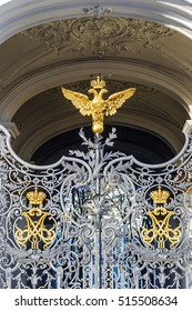 double-headed eagle on the gates of the Hermitage Museum in St. Petersburg