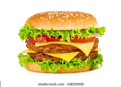 doublel cheeseburger in front of white background