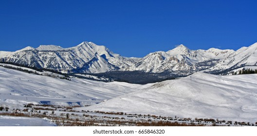 Doubletop Mountain Peak in the Gros Ventre Range in the Central Rocky mountains in Wyoming USA
