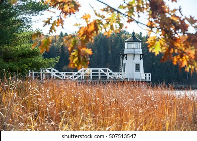 Doubling Point Lighthouse in autumn, Kennebec River, Arrowsic, Maine