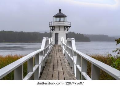 Doubling Point Lighthouse Walkway Straight On Fog - Arrowsic Island, Kennebec River, Maine, USA