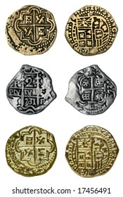 Doubloons and Reales, isolated.