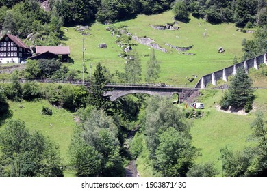 Doubs, France - 17 July 2014: Old railway bridge in countryside.