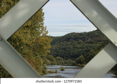 The Doubs river from the blue bridge joining the two villages Avanne and Aveney, Franche Comté, France
