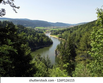 The Doubs river (Jura) from the top of the waterfall 'Saut du Doubs' - a border between Switzerland and France