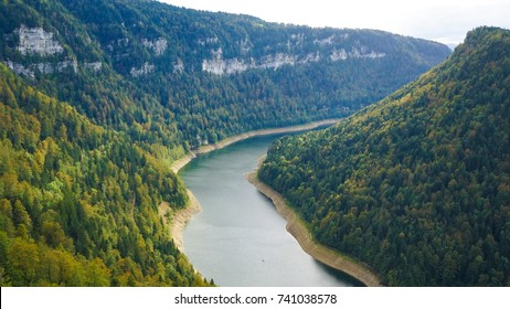 Doubs River on border of Switzerland and France