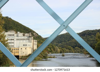 The Doubs river and the watermill of  Avanne; photo from the blue bridge joining the two villages Avanne and Aveney, Franche Comté, France