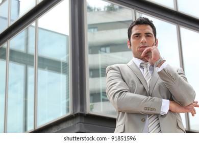 Doubtful businessman