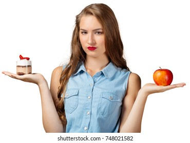Doubting Woman with Healthy and Unhealthy Food