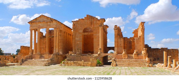 DOUGGA TUNISIA 10 23 2017: Dougga or Thugga is a Romano-Berber city in northern Tunisia, included in a 65 hectare archaeological site UNESCO qualified Dougga as a World Heritage Site in 1997