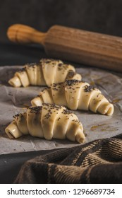 The dough for croissants. Preparation of croissants in the kitchen with ingredients