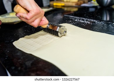 dough cutting process on the table by using special tool