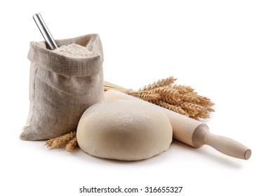 dough, flour in the bag and spikes.