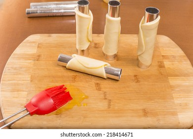 dough preparation for cannoli using pastry tubes