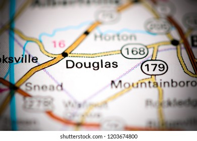 Douglas. Alabama. USA on a map