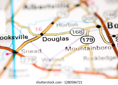 Douglas. Alabama. USA on a map