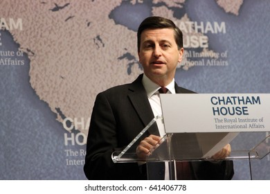 Douglas Alexander, Shadow Secretary of State for Foreign Affairs, prepares to give a speech on the Labour Party's foreign policy at the Chatham House think-tank in London, UK, on 2 February 2015