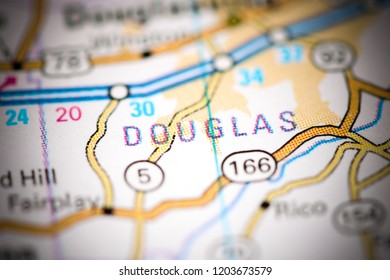 Douglas. Georgia. USA on a map