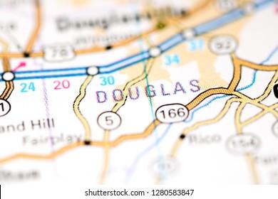 Douglas. Georgia. USA on a map
