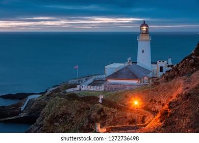 Douglas Head Lighthouse. at dawn Douglas, Isle of Man.