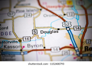 Douglas. Iowa. USA on a map