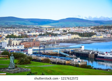 DOUGLAS, ISLE OF MAN - OCTOBER 15: Beautiful landscape view of seaside town of Douglas in the Isle of Man, the capital and largest town of the Isle of Man