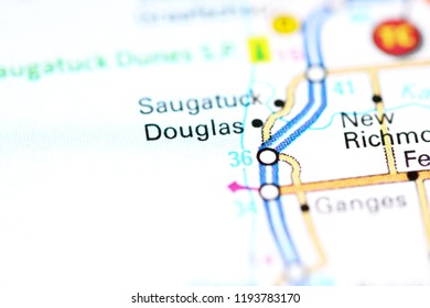 Douglas. Michigan. USA on a map
