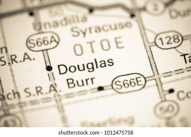 Douglas. Nebraska. USA on a map.