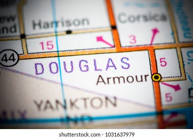 Douglas. South Dakota. USA on a map.