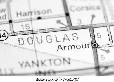 Douglas. South Dakota. USA on a map.