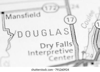 Douglas. Washington State on a map.