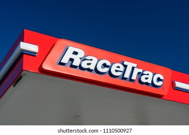 DOUGLASVILLE, GA/USA - JUNE 6, 2018: Racetrac gas station sign and logo. RaceTrac Petroleum, Inc., is an American corporation that operates a chain of gasoline service stations.