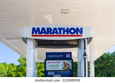 DOUGLASVILLE, GA/USA - JUNE 6, 2018: Marathon Oil gas station sign and logo. Marathon Oil Corporation is an American petroleum and natural gas exploration and production company.