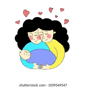 Doula-coebie supporting a young mother. Care, support. Drawing, illustrations
