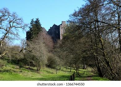 Doune Castle Scotland against a clear blue sky