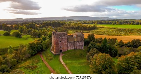 Doune, Perthshire, Scotland; 29 September 2017: Aerial shot of Doune Castle in Perthshire, Scotland.